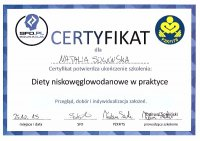 Certificate of dietetics – 'Low carbs diets in practice'