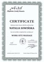 Certificate of Work Site Massage